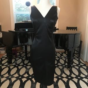 Dolce and Gabanna Black V Neck Satin Dress
